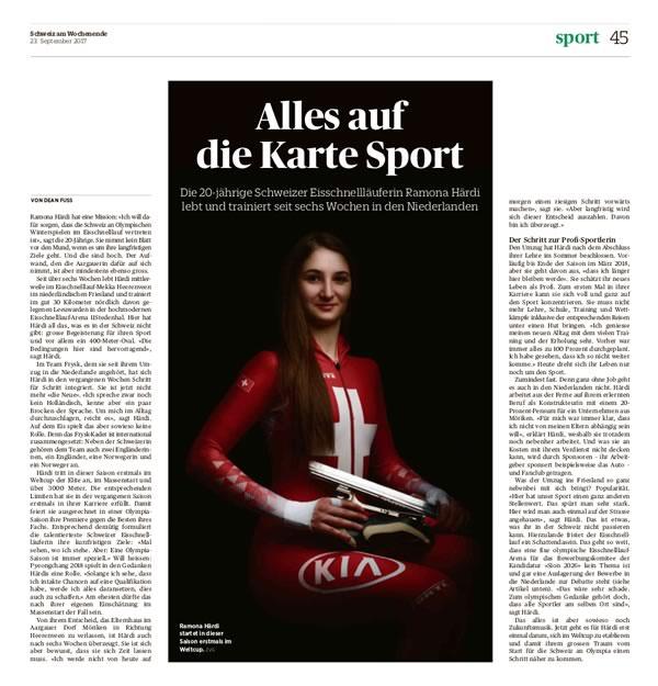 """Ein super Bericht über mich in der """"Schweiz am Wochenende"""" vom 23. September 2017"""